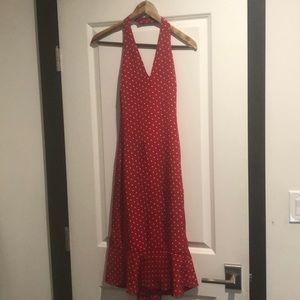 Ralph Lauren silk red and cream polka dot dress